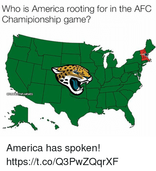 Game Memes: Who is America rooting for in the AFC  Chamipionship game?  MEMES America has spoken! https://t.co/Q3PwZQqrXF