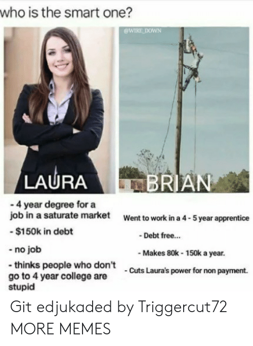 No Job: who is the smart one?  WIRE DOWN  LAURA  RIAN  - 4 year degree for a  job in a saturate market  -$150k in debt  -no job  -thinks people who don't  go to 4 year college are  Went to work in a 4-5 year apprentice  Debt free..  Makes 80k-150k a year.  Cuts Laura's power for non payment.  stupid Git edjukaded by Triggercut72 MORE MEMES