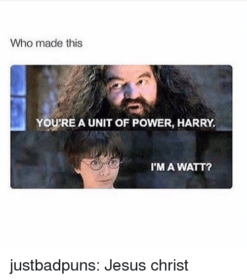 watt: Who made this  YOU'RE A UNIT OF POWER, HARRY,  I'M A WATT? justbadpuns:  Jesus christ