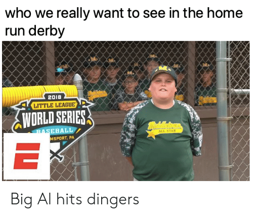 All Star: who we really want to see in the home  run derby  2018  LITTLE LEAGUE  WORLD SERIES  mealeoun  BASEBALL  ALL-STAR  MSPORT, PA  IL Big Al hits dingers
