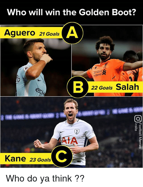 Goals, Memes, and 🤖: Who will win the Golden Boot?  Aguero 21 GoalsA  22 Goals Salah  AIA  AIA  Kane 23 Goals Who do ya think ??