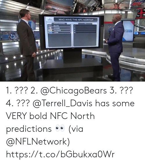Memes, Bears, and Lions: WHO WINS THE NFC NORTH?  2018 STANDINGS  BEARS  VIKINGS  PACKERS  LIONS 1. ??? 2. @ChicagoBears 3. ??? 4. ???  @Terrell_Davis has some VERY bold NFC North predictions 👀 (via @NFLNetwork) https://t.co/bGbukxa0Wr