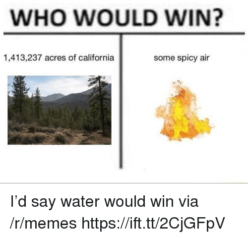 Memes, California, and Water: WHO WOULD WIN?  1,413,237 acres of california  some spicy air I'd say water would win via /r/memes https://ift.tt/2CjGFpV