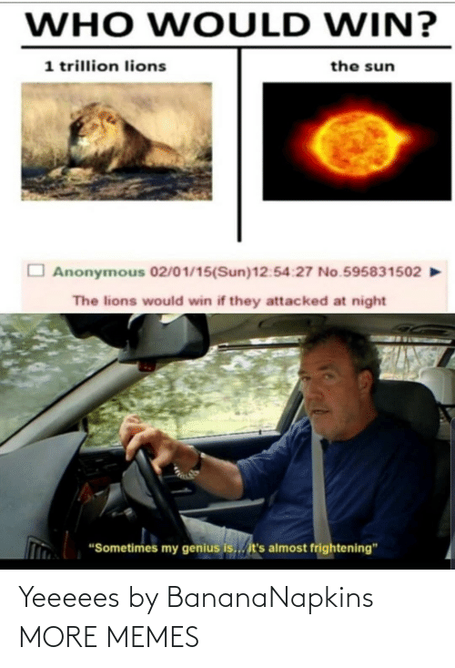 "Lions: WHO WOULD WIN?  1 trillion lions  the sun  Anonymous 02/01/15(Sun)12:54:27 No.595831502  The lions would win if they attacked at night  ""Sometimes my genius is... it's almost frightening"" Yeeeees by BananaNapkins MORE MEMES"