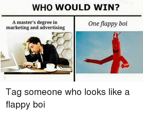 Flappy: WHO WOULD WIN?  A master's degree in  marketing and advertising  One flappy boi Tag someone who looks like a flappy boi