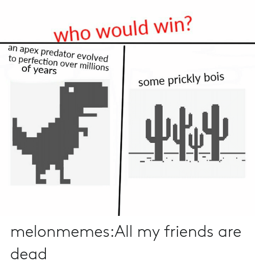 Friends, Target, and Tumblr: who would win?  an apex predator evolved  to perfection over millions  of years  some prickly bois melonmemes:All my friends are dead