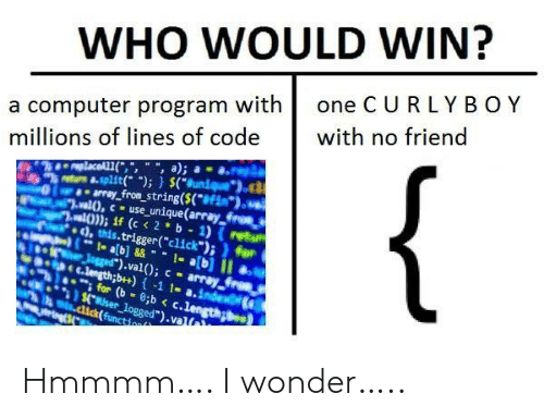 "string: WHO WOULD WIN?  one C URLY BOY  a computer program with  millions of lines of code  with no friend  {  replaceAL1(,"", "", a);  8-split( );) $(Bunique  array_from_string($(*#Fim*).  al),cuse_unique(array froes  al)); if (c < 2 b 1) (retu  ), this.trigger(""click"");)for  1- ab]&&1-a[b] II  Jgged"").val(); c array  C.length;b++)-1 1- a.index  for (b 8;b < c.length  $.user_logged"").val  .dick(function Hmmmm…. I wonder….."