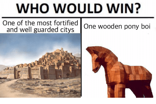 Boi, Pony, and Who: WHO WOULD WIN?  One of the most fortitied| One wooden pony boi  and well guarded citys