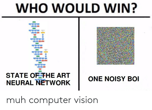Vision: WHO WOULD WIN?  STATE OF THE ART  NEURAL NETWORK  ONE NOISY BOI muh computer vision
