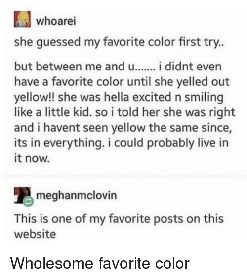 Live, Wholesome, and Her: whoarei  she guessed my favorite color first try..  but between me andu.. i didnt even  have a favorite color until she yelled out  yellow!! she was hella excited n smiling  like a little kid. so i told her she was right  and i havent seen yellow the same since,  its in everything. i could probably live in  it now.  meghanmclovin  This is one of my favorite posts on this  website Wholesome favorite color