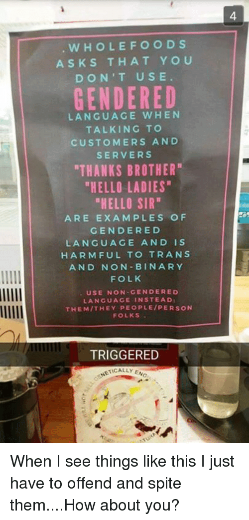 "Ed, Edd n Eddy: WHOLE FOODS  ASKS THAT YOU  DON'T USE  GENDERED  LANGUAGE WHEN  TALKING TO  CUSTOMERS AND  SERVERS  ""THANKS BROTHER""  ""HELLO LADIES  ""HELLO SIR""  ARE EXAMPLES OF  GENDER ED  LANGUAGE AND IS  HARMFUL TO TRANS  AND NON BIN ARY  FOLK  USE NON GENDER ED  LANGUAGE IN STEAD:  THEM THEY PEOPLE/PERSON  FOLKS  TRIGGERED  ACALLY ENG When I see things like this I just have to offend and spite them....How about you?"