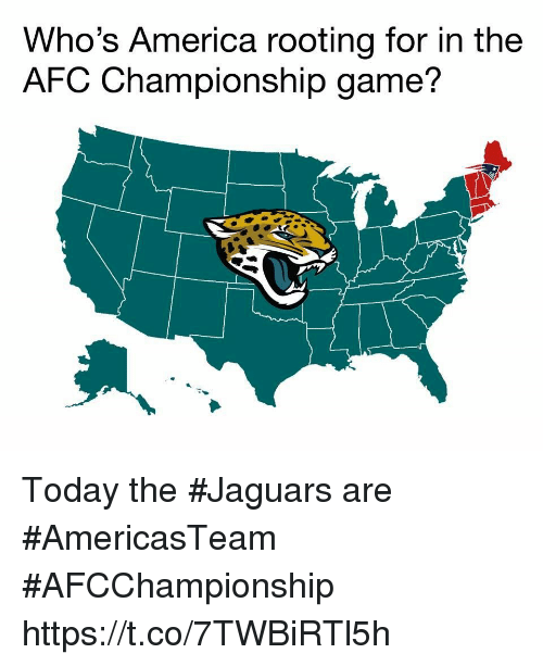 Afc Championship: Who's America rooting for in the  AFC Championship game? Today the #Jaguars are #AmericasTeam  #AFCChampionship https://t.co/7TWBiRTl5h