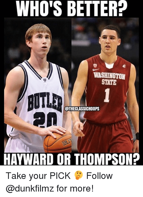 washington state: WHO'S BETTER?  WASHINGTON  STATE  @THECLASSICHOOPS  HAYWARD OR THOMPSON? Take your PICK 🤔 Follow @dunkfilmz for more!