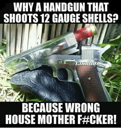 Memes, House, and 🤖: WHY A HANDGUN THAT  SHOOTS 12 GAUGE SHELLS  BECAUSE WRONG  HOUSE MOTHER F#CKERI