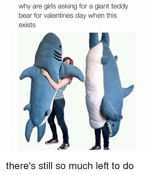 Why Are Girls: why are girls asking for a giant teddy  bear for valentines day when this  exists there's still so much left to do