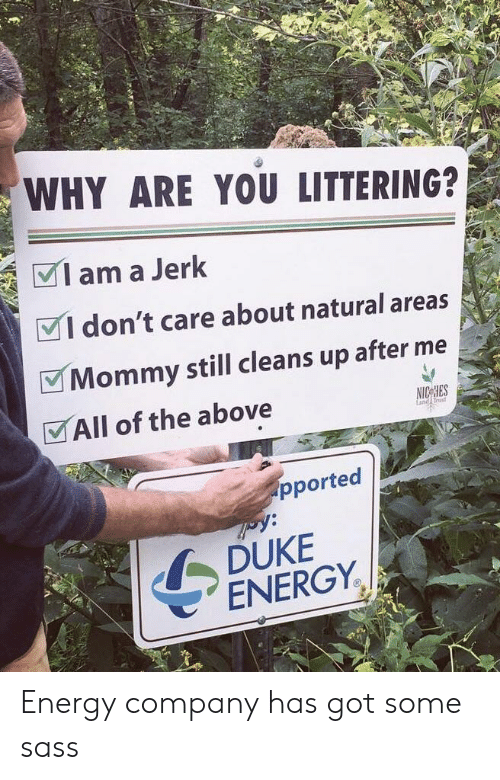 Energy, Duke, and Rust: WHY ARE YOU LITTERING?  Iama Jerk  VI don't care about natural areas  Mommy still cleans up after me  VAll of the above  rust  pported  DUKE  ENERGY. Energy company has got some sass
