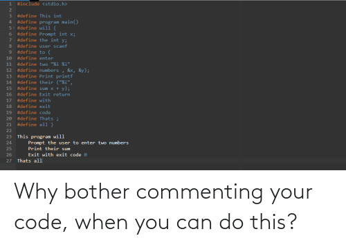 when you: Why bother commenting your code, when you can do this?