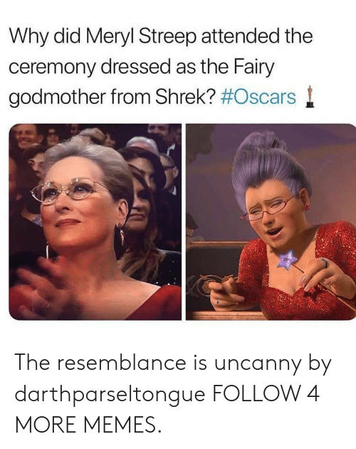 Dank, Memes, and Oscars: Why did Meryl Streep attended the  ceremony dressed as the Fairy  godmother from Shrek? The resemblance is uncanny by darthparseltongue FOLLOW 4 MORE MEMES.