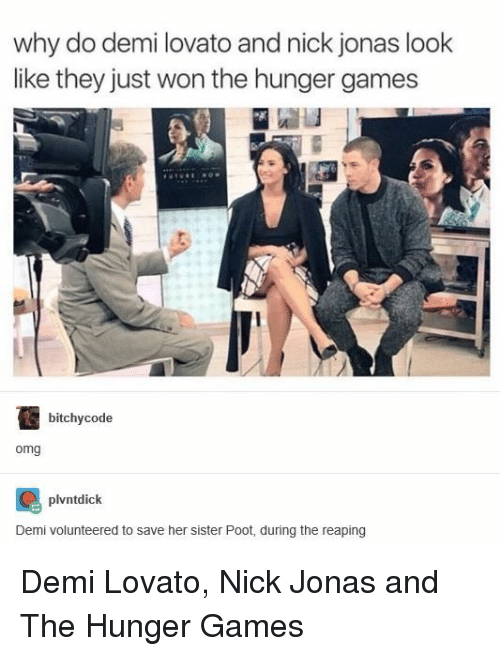 Demi Lovato: why do demi lovato and nick jonas look  like they just won the hunger games  bitchycode  omg  plvntdick  Demi volunteered to save her sister Poot, during the reaping Demi Lovato, Nick Jonas and The Hunger Games