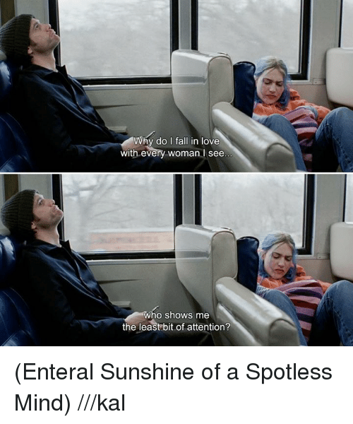 spotless mind: Why do I fall in love  with every woman I see  Who shows me  the least bit of attention? (Enteral Sunshine of a Spotless Mind) ///kal
