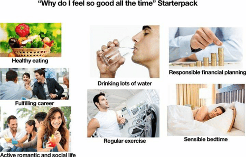 """Drinking, Life, and Exercise: """"Why do I feel so good all the time"""" Starterpack  35  Healthy eating  Responsible financial planning  Drinking lots of water  Fulfilling career  Sensible bedtime  Regular exercise  Active romantic and social life"""