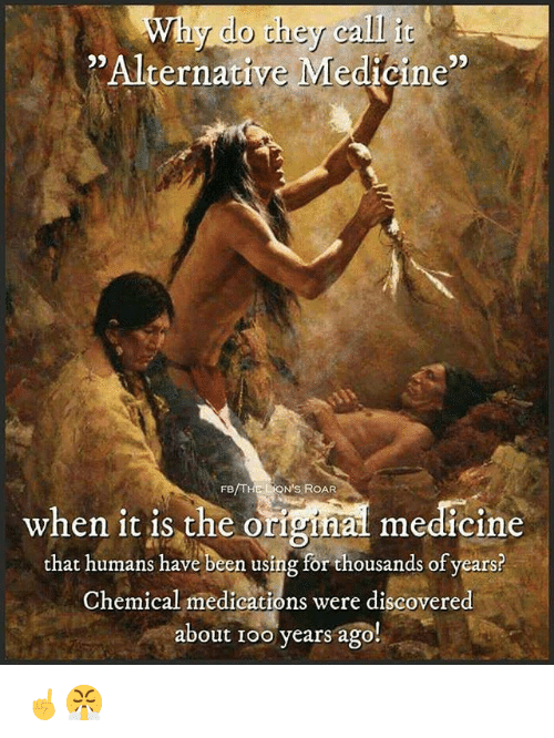 """Memes, Medicine, and Been: Why do they calli  """" Alternative Medtoine""""  95  FB/THE LON'S ROAR  when it is the original medicine  that humans have been using for thousands of years?  when 1t 1s the orighal medicine  Chemical medications were discovered  about Ioo years ago!  ical medications were discovere ☝️😤"""