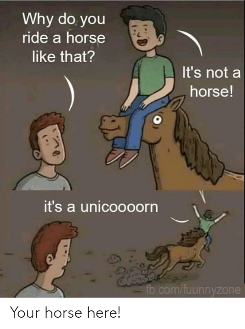 fb.com: Why do you  ride a horse  like that?  It's not a  horse!  it's a unicoooorn  fb.com/fuunnyzone Your horse here!