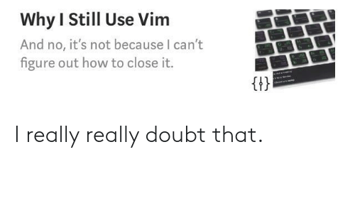 No Its Not: Why I Still Use Vim  And no, it's not because I can't  figure out how to close it.  Gt I really really doubt that.