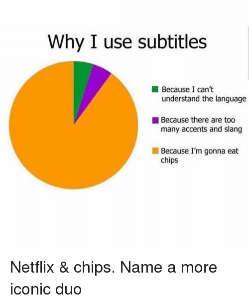 Netflix, Girl Memes, and Iconic: Why I use subtitles  Because I can't  understand the language  Because there are too  many accents and slang  Because I'm gonna eat  chips Netflix & chips. Name a more iconic duo