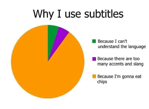 Chips, Language, and Why: Why I use subtitles  Because I can't  understand the language  Because there are too  many accents and slang  Because I'm gonna eat  chips