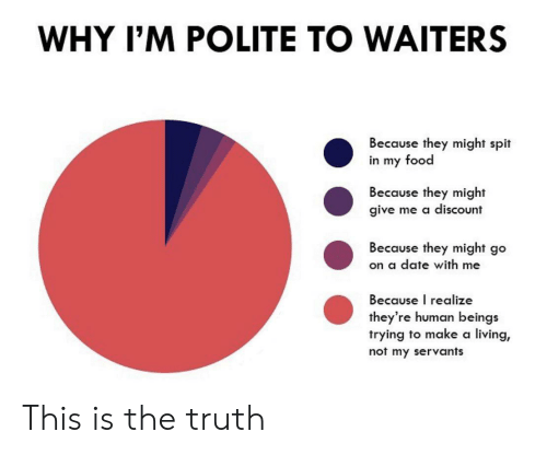 Waiters: WHY I'M POLITE TO WAITERS  Because they might spit  in my food  Because they might  give me a discount  Because they might go  on a date with me  Because I realize  they're human beings  trying to make a living,  not my servants This is the truth