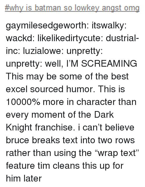 "dark knight:  #why is batman so lowkey angst ong gaymilesedgeworth:  itswalky:  wackd:  likelikedirtycute:  dustrial-inc:  luzialowe:  unpretty:  unpretty:  well,     I'M SCREAMING  This may be some of the best excel sourced humor.   This is 10000% more in character than every moment of the Dark Knight franchise.  i can't believe bruce breaks text into two rows rather than using the ""wrap text"" feature  tim cleans this up for him later"