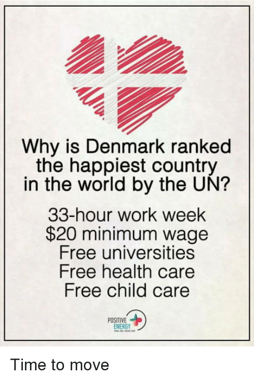 positive energy: Why is Denmark ranked  the happiest country  in the world by the UN?  33-hour work week  $20 minimum wage  Free universities  Free health care  Free child care  POSITIVE  ENERGY Time to move