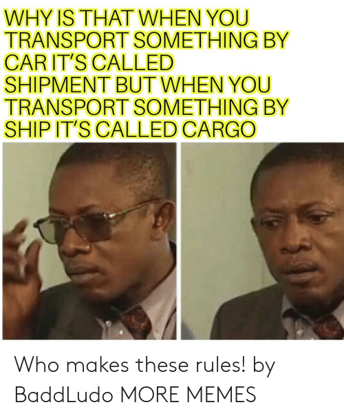 Who Makes: WHY IS THATWHEN YOU  TRANSPORT SOMETHING BY  CARIT'S CALLED  SHIPMENT BUT WHEN YOU  TRANSPORT SOMETHING BY  SHIP IT'S CALLED CARGO Who makes these rules! by BaddLudo MORE MEMES