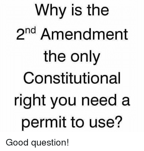 2nd Amendment: Why is the  2nd Amendment  the only  Constitutional  right you need a  permit to use? Good question!