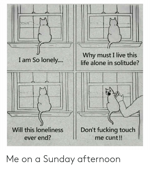 Being Alone, Fucking, and Life: Why must I live this  life alone in solitude?  I am So lonely..  Don't fucking touch  Will this loneliness  ever end?  me cunt!! Me on a Sunday afternoon