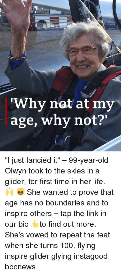 """Inspire Others: Why not at my  age, why not?' """"I just fancied it"""" – 99-year-old Olwyn took to the skies in a glider, for first time in her life. 🙌 😄 She wanted to prove that age has no boundaries and to inspire others – tap the link in our bio 👆to find out more. She's vowed to repeat the feat when she turns 100. flying inspire glider glying instagood bbcnews"""