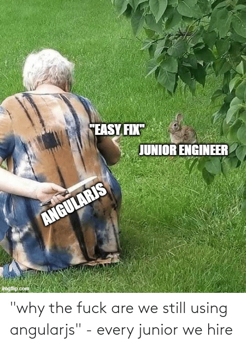 """hire: """"why the fuck are we still using angularjs"""" - every junior we hire"""