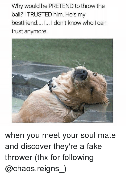 Fake, Memes, and Discover: Why would he PRETEND to throw the  ball? I TRUSTED him. He's my  bestfriend.... I.. I don't know who I can  trust anymore. when you meet your soul mate and discover they're a fake thrower (thx for following @chaos.reigns_)