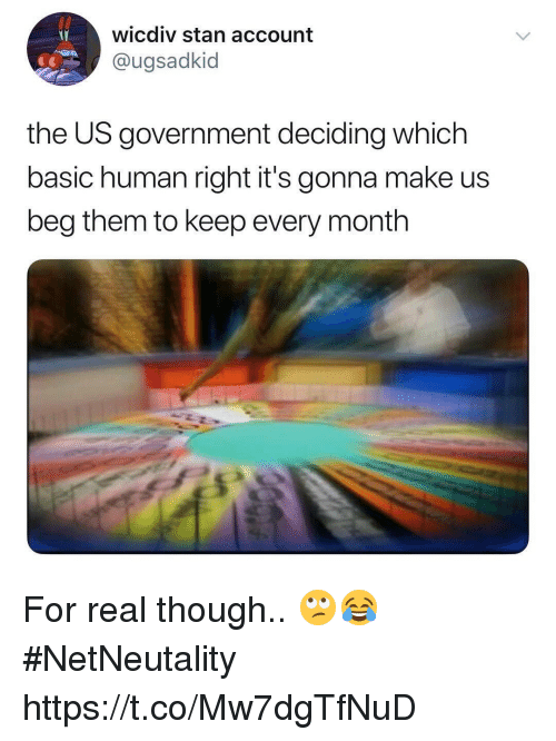 Memes, Stan, and Government: wicdiv stan account  @ugsadkid  the US government deciding which  basic human right it's gonna make us  beg them to keep every month For real though.. 🙄😂 #NetNeutality https://t.co/Mw7dgTfNuD