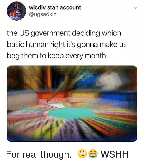 Memes, Stan, and Wshh: wicdiv stan account  @ugsadkid  the US government deciding which  basic human right it's gonna make us  beg them to keep every month For real though.. 🙄😂 WSHH