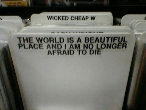 Beautiful, Wicked, and World: WICKED CHEAP W  THE WORLD IS A BEAUTIFUL  PLACE AND I AM NO LONGER  AFRAID TO DIE