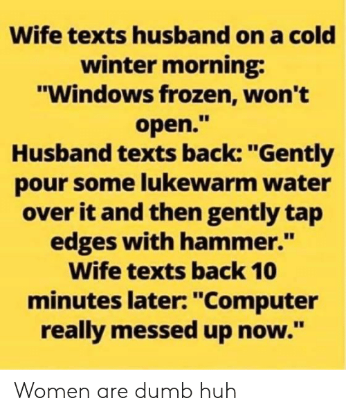 """Pour Some: Wife texts husband on a cold  winter morning  """"Windows frozen, won't  open.""""  Husband texts back: """"Gently  pour some lukewarm water  over it and then gently tap  edges with hammer.""""  Wife texts back 10  minutes later: """"Computer  really messed up now."""" Women are dumb huh"""