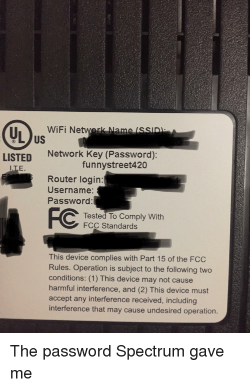 WiFi Network Name SSID US I LISTED Network Key Password