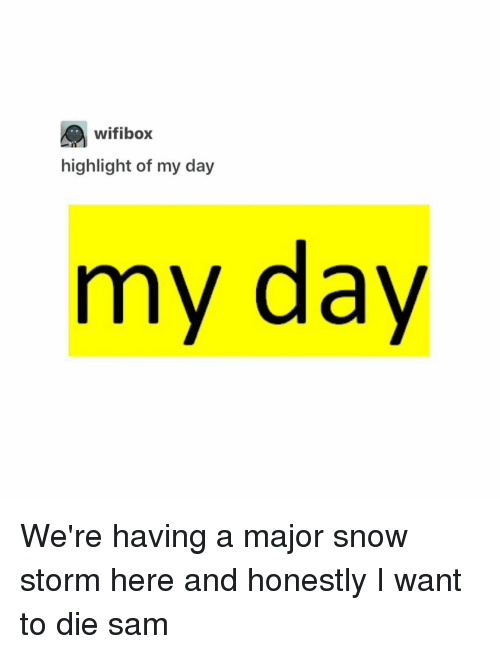 Memes, 🤖, and Storm: wifibox  highlight of my day  my day We're having a major snow storm here and honestly I want to die ≪sam≫
