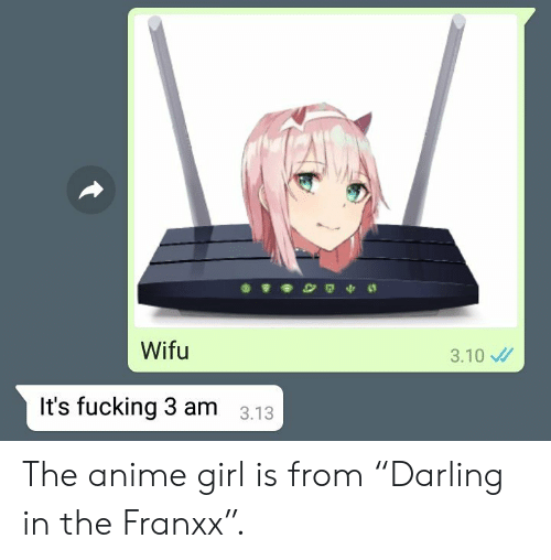 "Anime, Fucking, and Girl: Wifu  3.10  It's fucking 3 am  3.13 The anime girl is from ""Darling in the Franxx""."