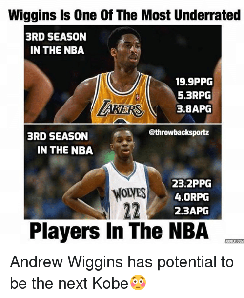 brd: Wiggins Is One Of The Most Underrated  3RD SEASON  IN THE NBA  19.9PPG  5.3RPG  3,8APG  @throwbacksportz  BRD SEASON  IN THE NBA  23.2PPG  4.0RPG  2.3APG  Players In The NBA  COOTETCOM Andrew Wiggins has potential to be the next Kobe😳