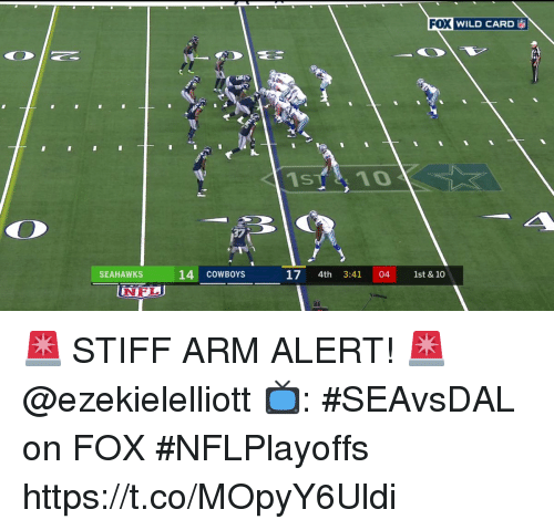 stiff: WILD CARD ia  37  SEAHAWKS  14 COWBOYS  17 4th 3:41 04 1st & 10  NFL 🚨 STIFF ARM ALERT! 🚨 @ezekielelliott  📺: #SEAvsDAL on FOX #NFLPlayoffs https://t.co/MOpyY6Uldi