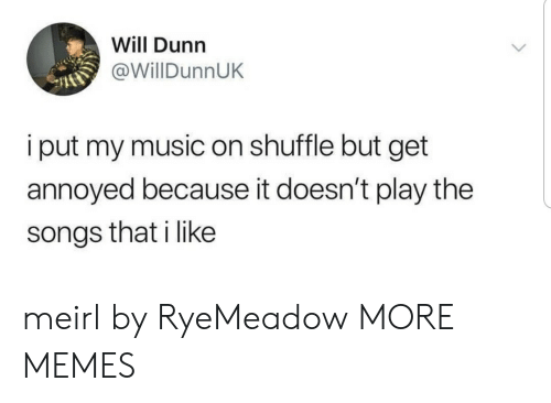 Dank, Memes, and Music: Will Dunn  @WillDunnUK  i put my music on shuffle but get  annoyed because it doesn't play the  songs that i like meirl by RyeMeadow MORE MEMES