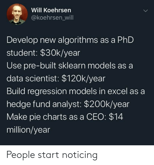 Phd Student: Will Koehrsen  @koehrsen_wil|  Develop new algorithms as a PhD  student: $30k/year  Use pre-built sklearn models as a  data scientist: $120k/year  Build regression models in excel as a  hedge fund analyst: $200k/year  Make pie charts as a CEO: $14  million/year People start noticing